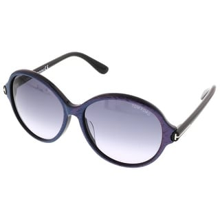 Tom Ford FT9343/S 83F Milena Pink/Blue Stripe Round Sunglasses