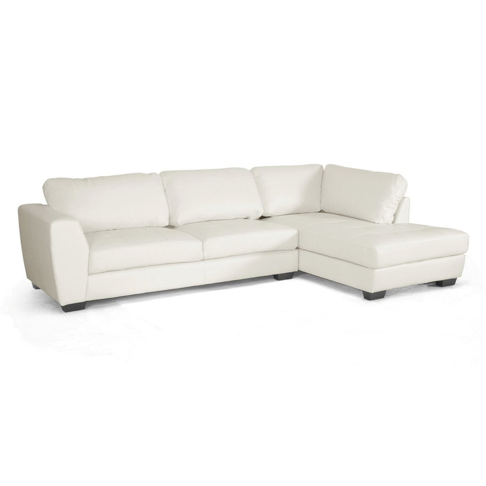 Groovy Orland White Bonded Leather Sectional Sofa Set W Right Facing Chaise Creativecarmelina Interior Chair Design Creativecarmelinacom