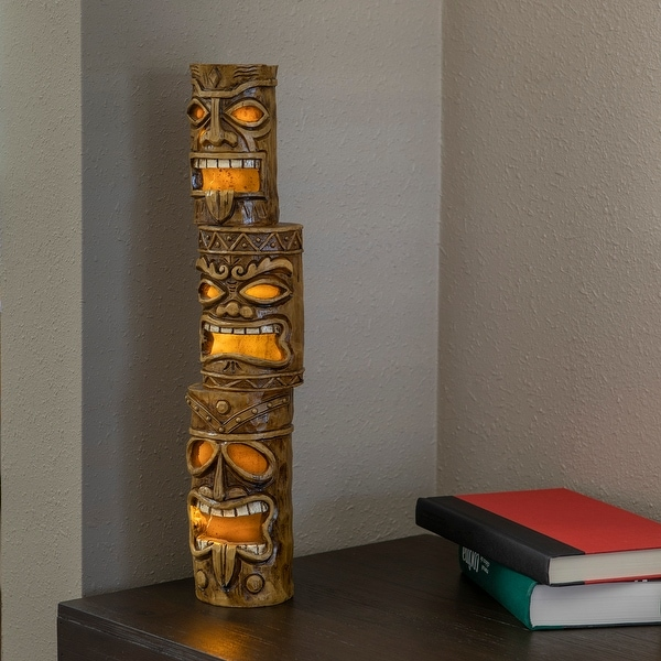 Alpine 19-Inch Outdoor 3-Tier Tiki Totem Statue with Solar LED Lights - 3 TIER. Opens flyout.