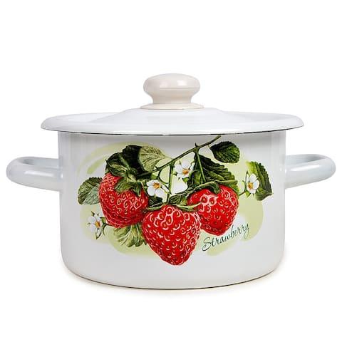 STP Goods Strawberry Appeal Enamel on Steel White Stock Pot