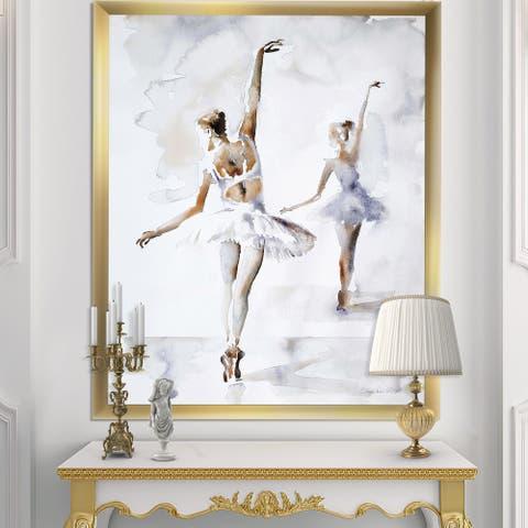 Designart 'watercolors Ballerinas Dance II' French Country Framed Art Print