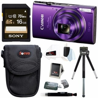 Canon PowerShot ELPH 360 Digital Camera (Purple) w/ Sony 16GB Card & Bundle