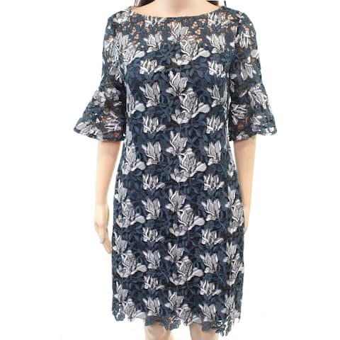 Lauren by Ralph Lauren Women's Dress Blue Size 0 Floral Crochet Sheath