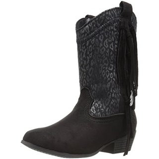 Jessica Simpson Girls Sloane Cowboy, Western Boots Animal Print Microsuede