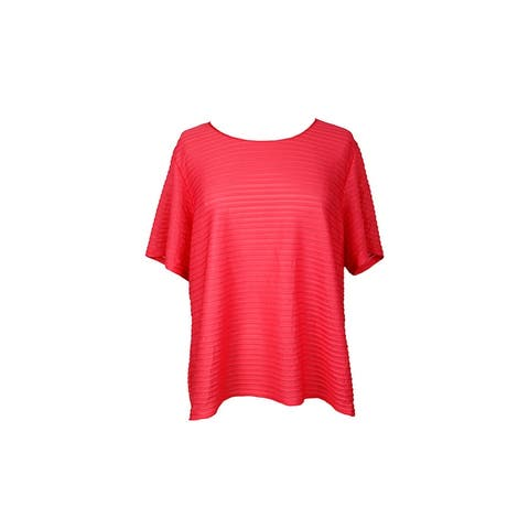 Calvin Klein Plus Size Coral Illusion-Stripe T-Shirt 3X