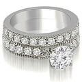 2.95 cttw. 14K White Gold Antique Milgrain Round Diamond Bridal Set - Thumbnail 0