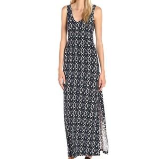 Karen Kane NEW Blue Womens Size Medium M Ikat-Printed V-Neck Maxi Dress