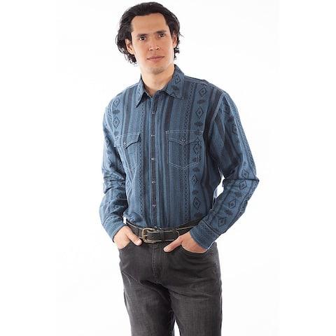 Scully Western Shirt Mens L/S Diamond Stripe Print Snap