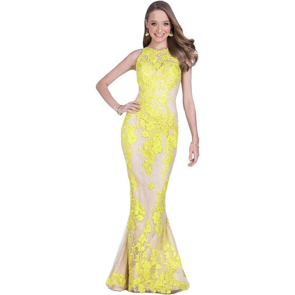 Terani Couture Embroidered Sequined Formal Dress