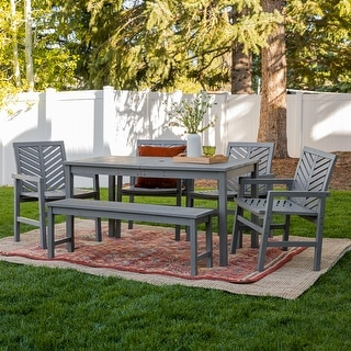Link to Elephant Point 6-piece Patio Chevron Dining Set by Havenside Home Similar Items in Patio Furniture