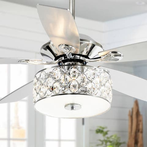 52-inch Crystal Chandelier Wooden 5-Blade Ceiling Fan with Remote