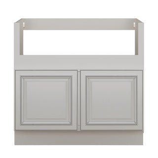 "Sunny Wood SLB36FS-A  Sanibel 36"" Wide x 34-1/2"" High Double Door Base Cabinet - Off White with Charcoal Glaze"