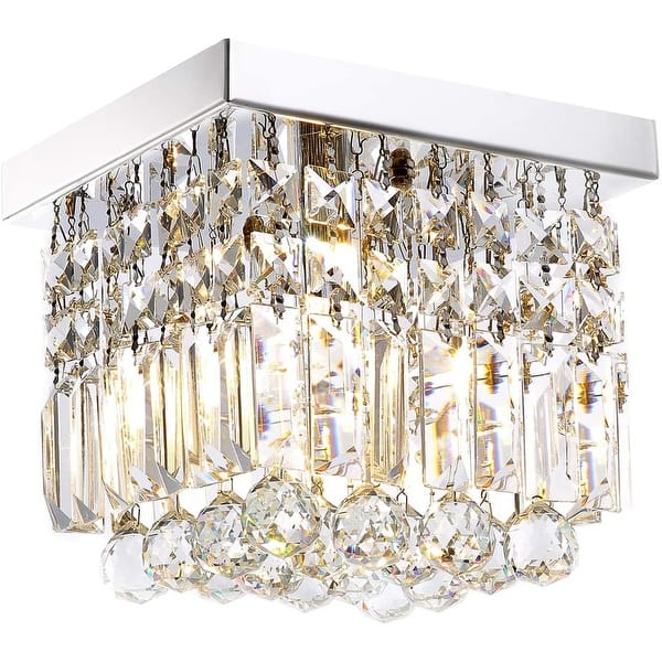 Modern Square Flush Mount Crystal Ceiling Light Fixture Chrome 7 87 X7 87 X7 09 Overstock 31926133