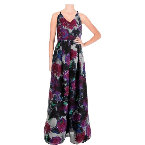 Phoebe Womens Evening Dress Georgette Metallic