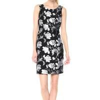 Kasper Black Women's Size 4 Floral Jacqurad Sleeveless Sheath Dress