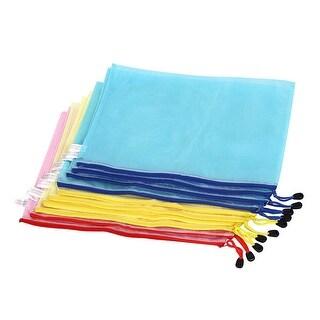 Unique Bargains Zippered B4 Paper Document File Bag Holder Pouch Yellow Blue Pink w Strap 10pcs