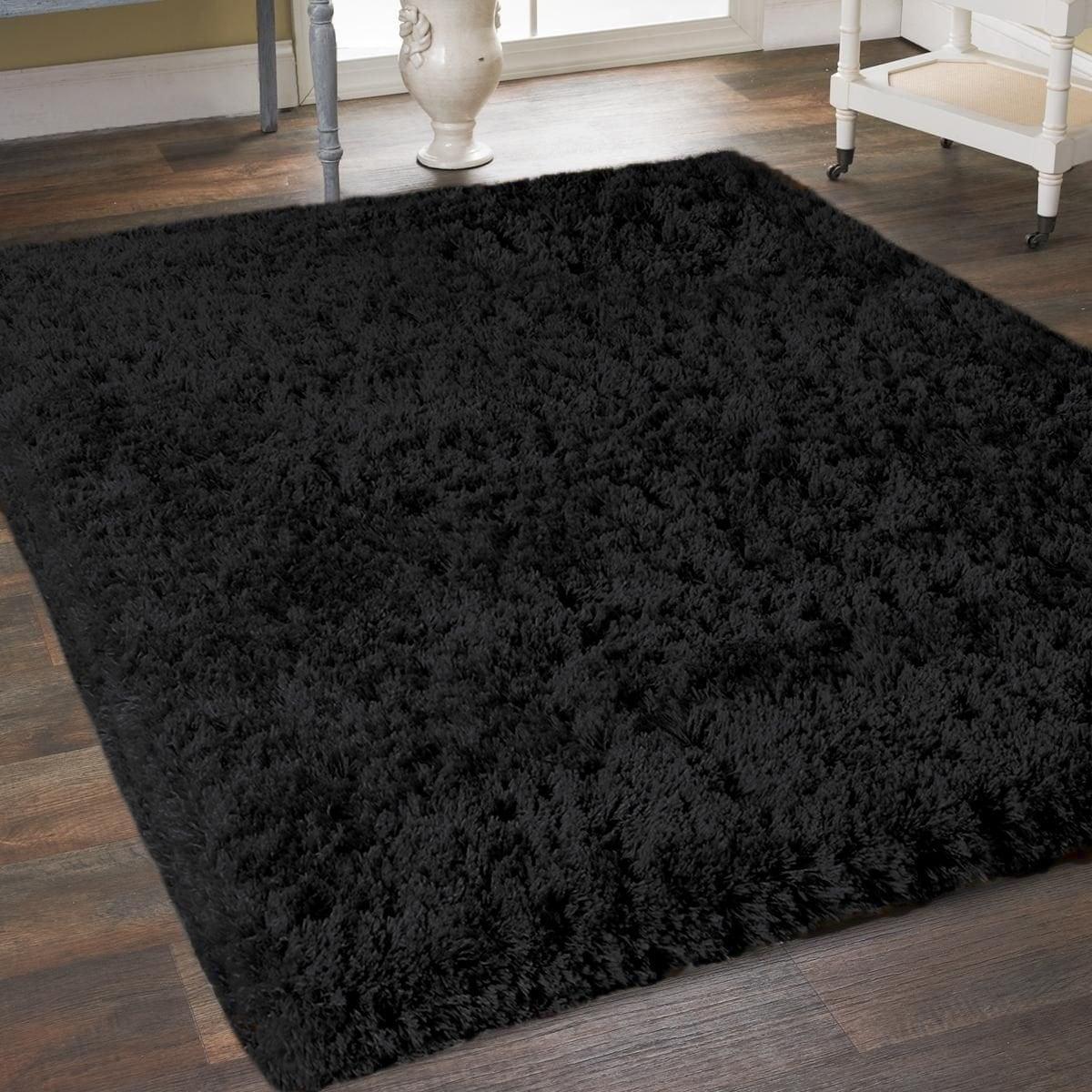 Black Microfiber Soft Thick Plush Cozy Shaggy Shag Area Rug 5 X 7 On Sale Overstock 28443262