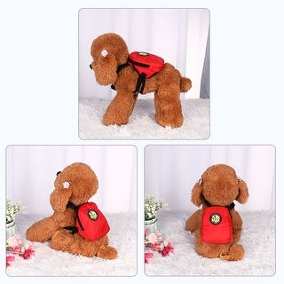 Dog Backpack Adjustable Straps Puppy Pet Carrier Holder Bag with Leash Rope (Red - L)