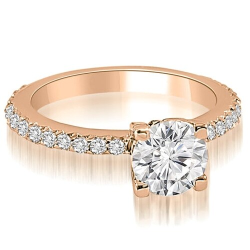0.86 cttw. 14K Rose Gold Round Cut Diamond Engagement Ring