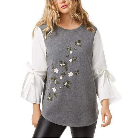Kensie White Gray Womens XS Embroidered Puff Sleeve Blouse