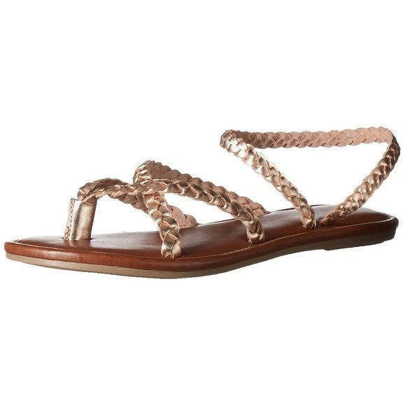 MIA Womens Braid Leather Split Toe Casual Strappy Sandals, Tan, Size 7.0