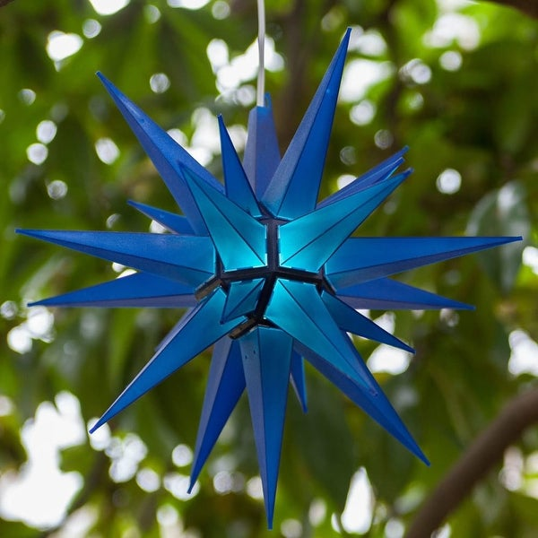 """Wintergreen Lighting 72725 Indoor / Outdoor LED Moravian Star with 60"""" Lead - BLue - N/A"""