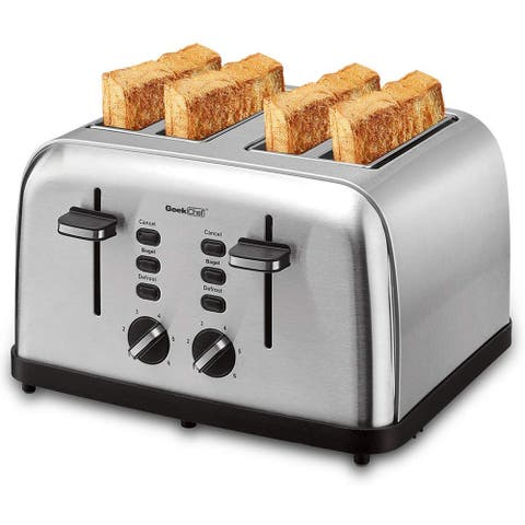 Geek Chef Stainless Steel Extra-Wide Slot Toaster with Dual Control Panels of Bagel/Defrost/Cancel Function
