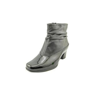 David Tate Vera Women SS Square Toe Leather Black Ankle Boot