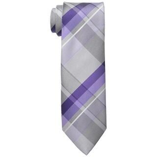 Geoffrey Beene Purple Far And Wide Classic Plaid Men's Neck Tie