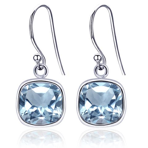 Blue Topaz Sterling Silver Cushion Dangle Earrings By Orchid Jewelry