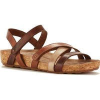 Walking Cradles Women's Pool Strappy Sandal Brown Multi Leather/Cork