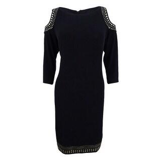 Jessica Howard Women's Embellished Cold-Shoulder Sheath Dress - Black
