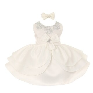 Baby Girls Ivory Rhinestud Bow Easter Special Occasion Dress 3-24M