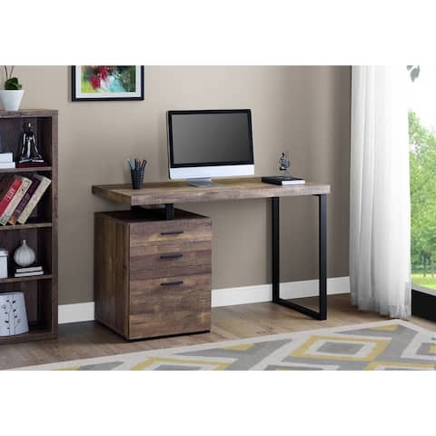 """Offex Contemporary Computer Desk - 48""""L - Brown Reclaimed Wood, Black Metal"""