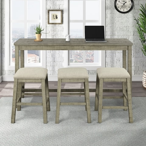 4 Pieces Counter Height Table with Fabric Padded Stools,Rustic Bar Dining Set with Socket