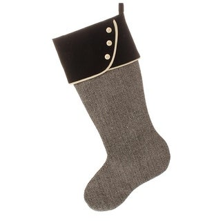 "17"" Alpine Chic Herringbone Patterned Christmas Stocking with Black Velveteen Cuff"