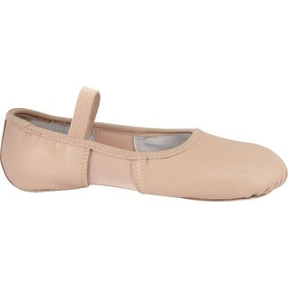 Pink Leather Spandex Split Sole Elastic Strap Ballet Shoes 5-12 Womens