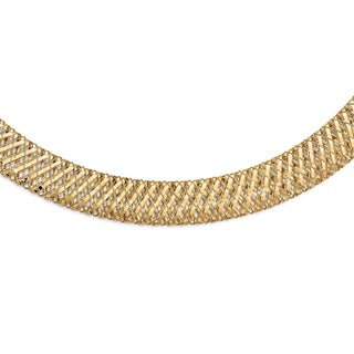 Italian 14k Gold Fancy Stretch Necklace - 17.75 inches