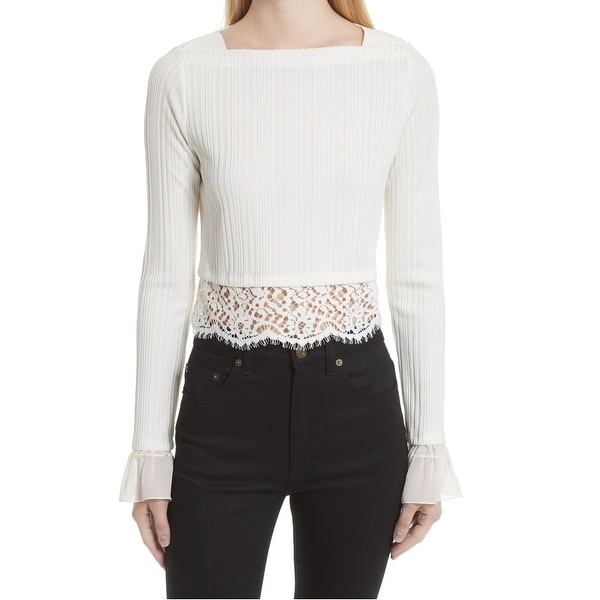 934fc62816ddd Shop 3.1 Phillip Lim White Women Size Medium M Lace Hem Ribbed Knit Top -  Free Shipping Today - Overstock - 22164340
