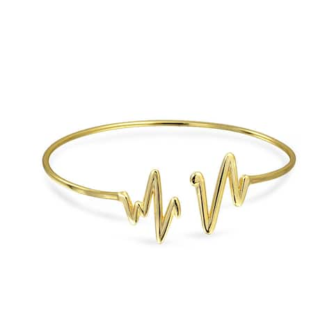 Minimalist Trendy Geometric Zig Zag Heartbeat Bangle Cuff Bracelet For Women For Teen 14K Gold Plate 925 Sterling Silver