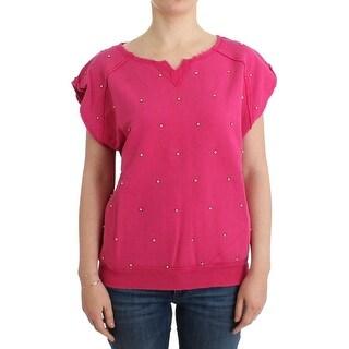 Balmain Balmain Pink embellished cotton sweatshirt
