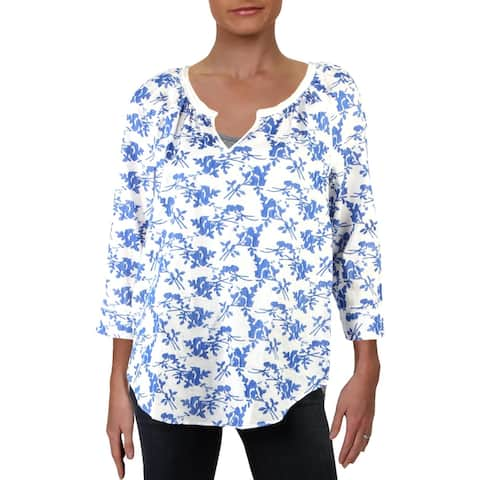 NYDJ Womens Peasant Top Floral Embroidered - Chateau Blue - S