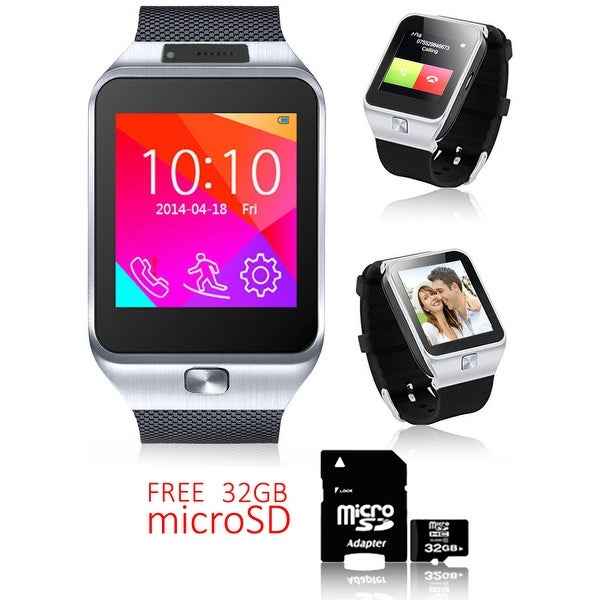 Indigi® Unlocked 2-in-1 SWAP2 SmartWatch & Phone + Built-In Camera + Pedometer + Bluetooth Sync w/ 32gb microSD Included