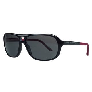 Porsche P8557-A Black/Red Aviator Sunglasses - 60-13-130|https://ak1.ostkcdn.com/images/products/is/images/direct/65f220afcd46b32a9c9ba6d0c2e2a1fdb6b9e8d3/Porsche-P8557-A-Black-Red-Aviator-Sunglasses.jpg?impolicy=medium