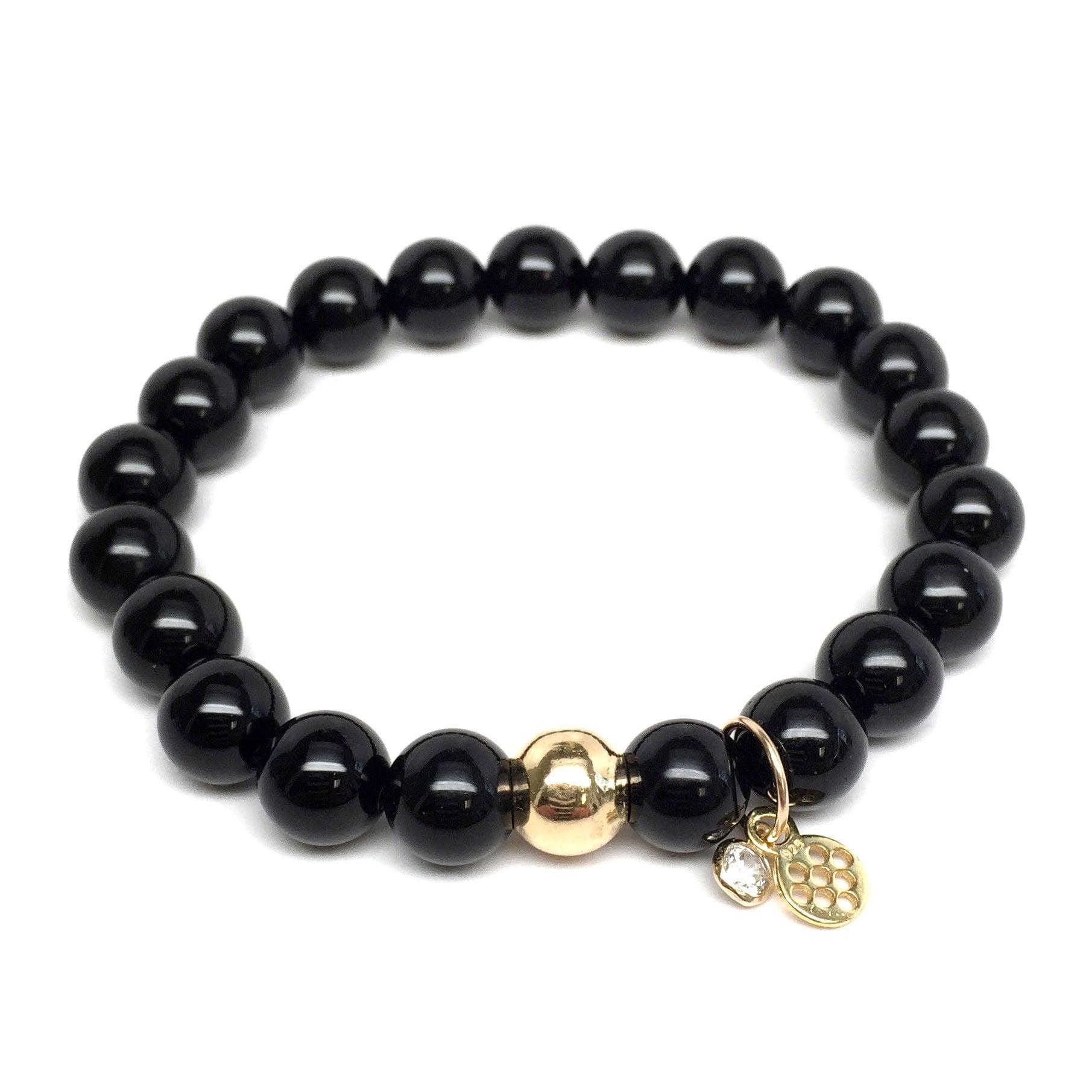 Black Onyx 'Zoe' Stretch Bracelet - Thumbnail 2