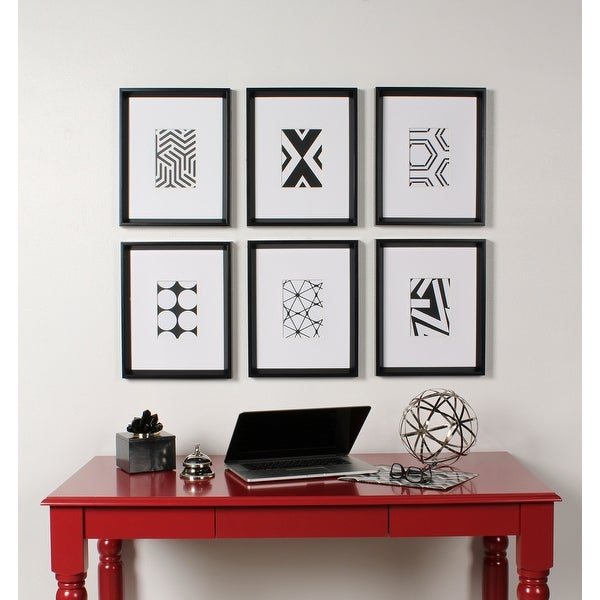 Kate and Laurel Calter 6 Piece Framed Black and White Print Art Set. Opens flyout.
