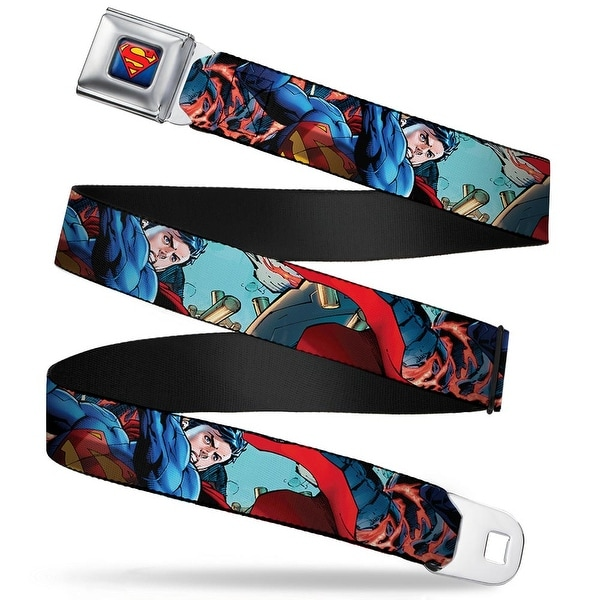 New 52 Superman Shield Explosion Full Color Blues Red Yellow New 52 Seatbelt Belt