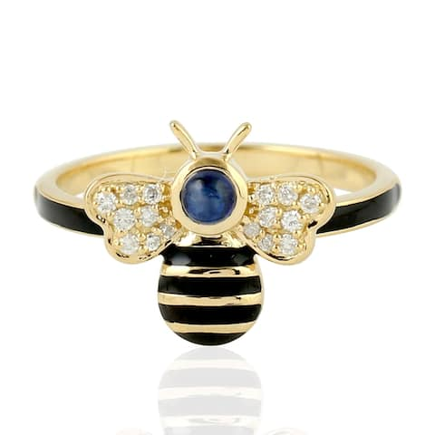 18Kt Gold Pave Diamond Blue Sapphire Bee Ring Jewelry with Jewelry Box Black Friday Sale