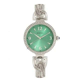 Bertha Sarah Chain-Link Watch w/Hanging Charm - Silver/Emerald