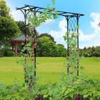 Costway Garden Wedding Rose Arch Pergola Archway Flowers Climbing Plants Trellis Metal